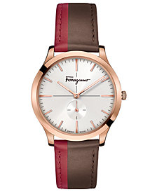 Ferragamo Men's Swiss Slim Formal Brown & Red Leather Strap Watch 40mm