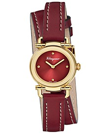 Women's Swiss Gancino Casual Red Leather Wrap Strap Watch 26mm