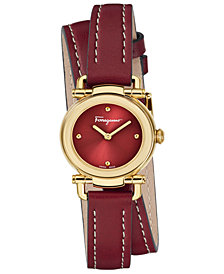 Ferragamo Women's Swiss Gancino Casual Red Leather Wrap Strap Watch 26mm
