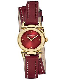 Ferragamo Women's Swiss Gancino Casual Red Leather Wrap Strap Watch 26mm