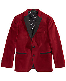 DKNY Big Boys Red Velvet Suit Jacket