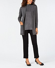 Open-Front Cardigan & Sleeveless Mock-Turtleneck Sweater