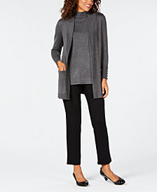 JM Collection Open-Front Cardigan & Sleeveless Mock-Turtleneck Sweater