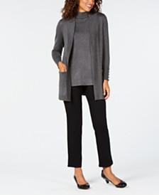 JM Collection Open-Front Cardigan & Sleeveless Mock-Turtleneck Sweater