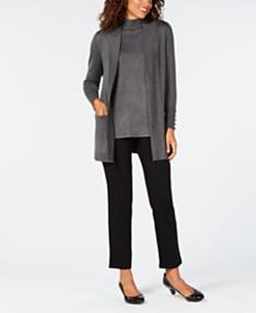 cebad166adcd6 JM Collection Open-Front Cardigan & Sleeveless Mock-Turtleneck Sweater