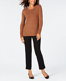 JM Collection Studded-Cuff Sweater & Pull-On Pants, Created for Macy's