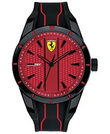 Ferrari Men's Red Rev Black Silicone Strap Watch 44mm