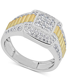 Men's Diamond Two-Tone Ring (1 ct. t.w.) in 10k Gold & White Gold