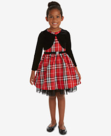 Rare Editions Little Girls 2-Pc. Velvet Shrug & Plaid Dress Set