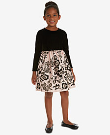 Rare Editions Little Girls Velvet Satin Flocked Dress