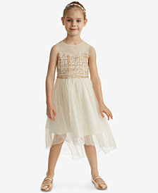 Rare Editions Little Girls Boucle Illusion Neck Dress