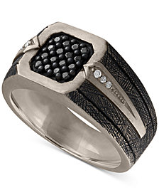 Esquire Men's Jewelry Diamond Statement Ring (1/3 ct. t.w.) in Sterling Silver, Created for Macy's