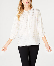 JM Collection Petite Foil-Print Blouse, Created for Macy's