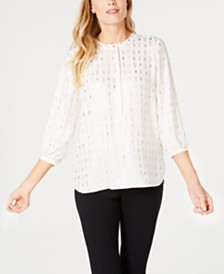 JM Collection Metallic Pleated Top, Created for Macy's