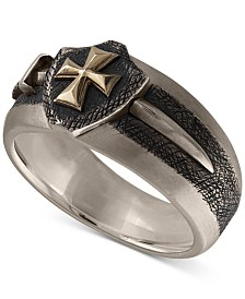 Esquire Men's Jewelry Sword & Shield Ring in Sterling Silver & 14k Gold, Created for Macy's