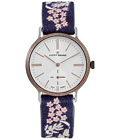 Lucky Brand Women's Ventana Floral Embroidered Black Leather Strap Watch 34mm