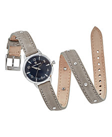 Lucky Brand Women's Torrey Mini Gray Leather Wrap Strap Watch 28mm
