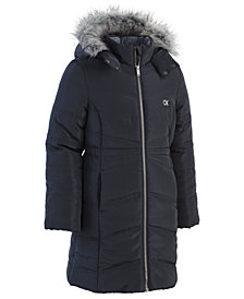 Calvin Klein Big Girls Aerial Hooded Jacket with Faux-Fur Trim