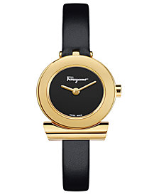 Ferragamo Women's Swiss Cancino Black Leather Strap Watch 22mm
