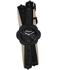 Ferragamo Women's Swiss Fiore Black Leather Wrap Strap Watch 24mm