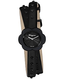 Ferragamo Women's Swiss Fiore Black Leather Wrap Strap Watch 24mm