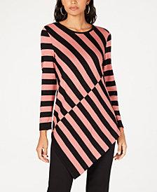 Alfani Colorblocked Asymmetrical-Hem Tunic Sweater, Created for Macy's