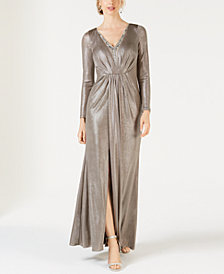 Adrianna Papell Embellished Metallic Jersey Gown