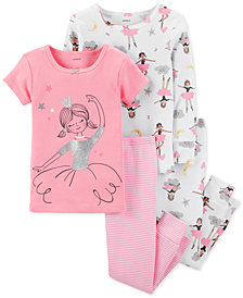 Carter's Baby Girls 4-Pc. Cotton Snug-Fit Ballerina Pajamas Set
