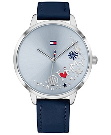 Tommy Hilfiger Women's Blue Leather Strap Watch 38mm, Created for Macy's