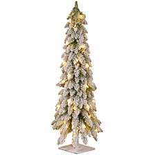 "National Tree 60"" Snowy Downswept Forstree with Metal Plate and 200 Clear Lights"