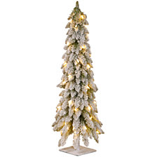 National Tree 60 Snowy Downswept Forstree with Metal Plate and 200 Clear Lights