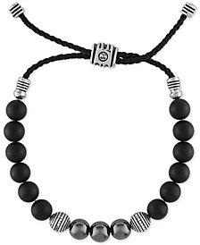 Esquire Men's Jewelry Multi-Stone & Diamond (1/5 ct. t.w.) Nylon Cord Bolo Bracelet in Sterling Silver, Created for Macy's