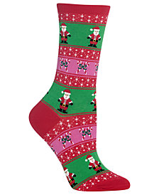 Hot Sox Women's Santa Fair Isle Crew Socks