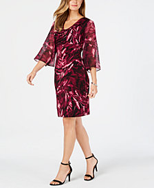 Connected Printed Chiffon-Sleeve Dress