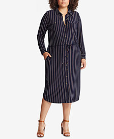 Lauren Ralph Lauren Plus Size Striped Shirtdress