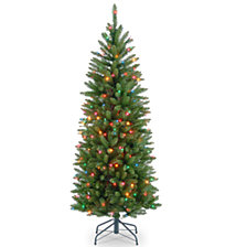 National Tree 4 .5' Kingswood Fir Hinged Pencil Tree with 150 Multi Lights