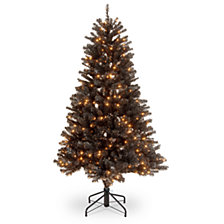 "National Tree 4 .5"" North Valley Black Spruce Hinged Tree with 200 Clear Lights"