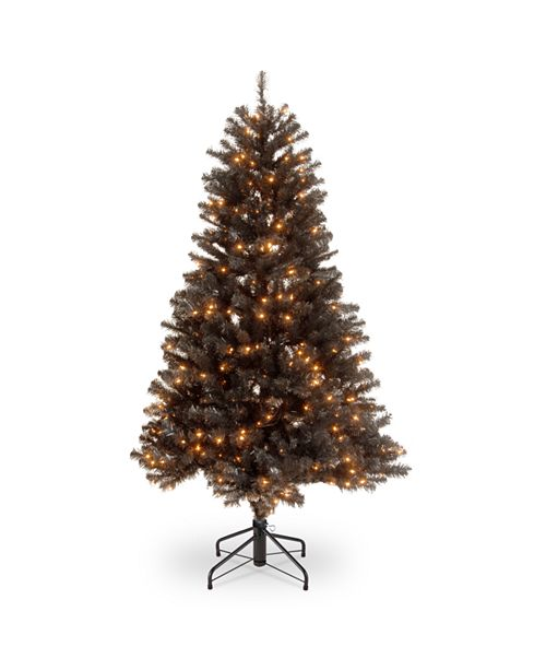 """National Tree Company National Tree 4 .5"""" North Valley Black Spruce Hinged Tree with 200 Clear Lights"""