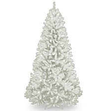 National Tree 7' North Valley White Spruce Hinged Tree with Glitter and 550 Clear Lights