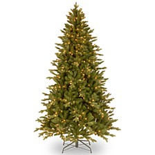 """National Tree 7.5' """"Feel-Real"""" Avalon Spruce Hinged Tree with 500 Clear Lights"""