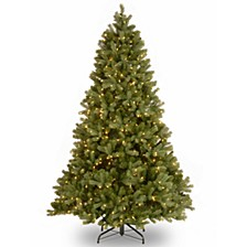 "National Tree 7' ""Feel Real"" Downswept Douglas Fir Hinged Tree with 700 Clear Lights"
