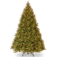 """National Tree 10' """"Feel Real"""" Downswept Douglas Hinged Tree with 1000 Clear Lights"""