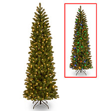 "National Tree 7 .5' ""Feel Real"" Down Swept Douglas Fir Pencil Slim Memory-Shape Hinged Tree with 350 Low Voltage Dual LED Lights"