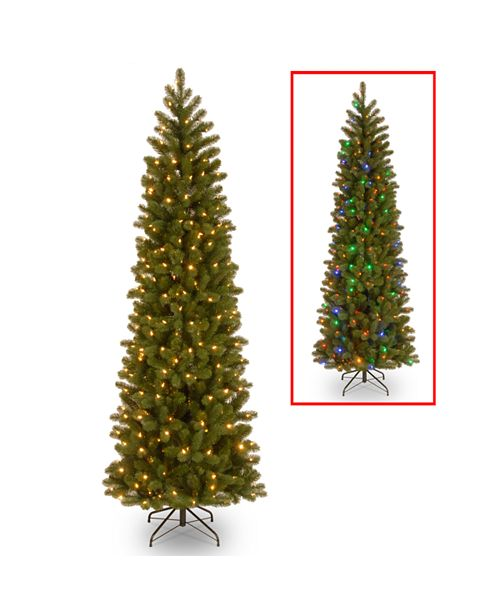 "National Tree Company National Tree 7 .5' ""Feel Real"" Down Swept Douglas Fir Pencil Slim Memory-Shape Hinged Tree with 350 Low Voltage Dual LED Lights"