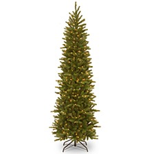 """National Tree 6 .5"""" Feel Real Grande Fir Pencil Slim Tree with 250 Clear Lights"""