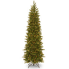 "National Tree 6 .5"" Feel Real Grande Fir Pencil Slim Tree with 250 Clear Lights"