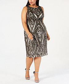 Adrianna Papell Plus Size Sequined Embroidered Dress