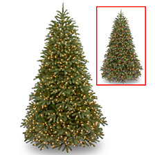 "National Tree 7 .5' ""Feel Real"" Jersey Frasier Fir Medium Hinged Tree with 1000 Dual LED Lights"