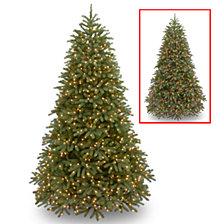 "National Tree 7 .5' ""Feel Real"" Jersey Frasier Fir Medium Hinged Tree with 1000 Dual LED Lights"