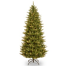 "National Tree 7 .5' ""Feel Real"" Natural Fraser Slim Hinged Tree with 750 Clear Lights"